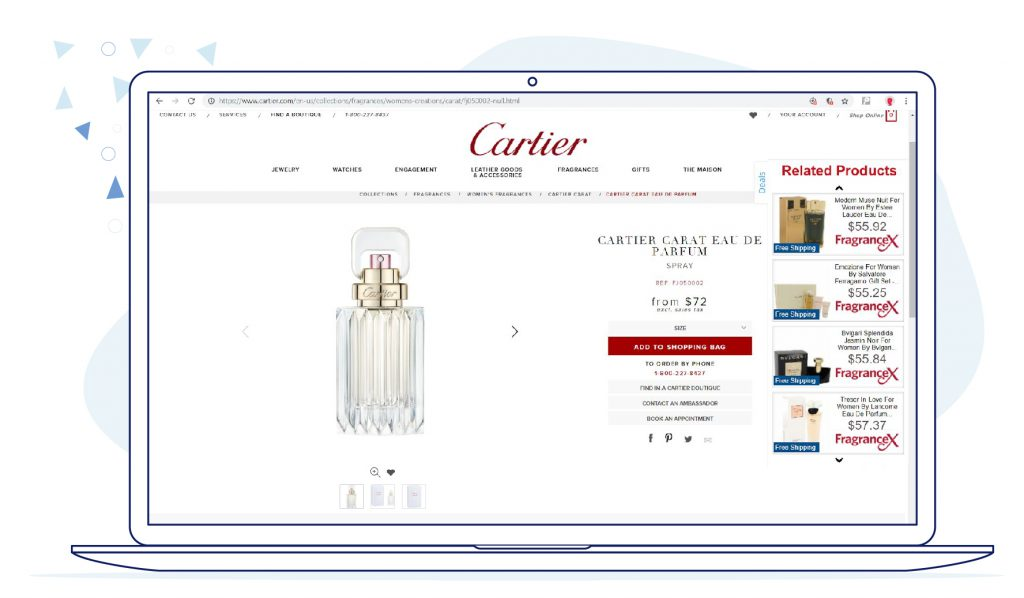 Cartier - Browser injected ads