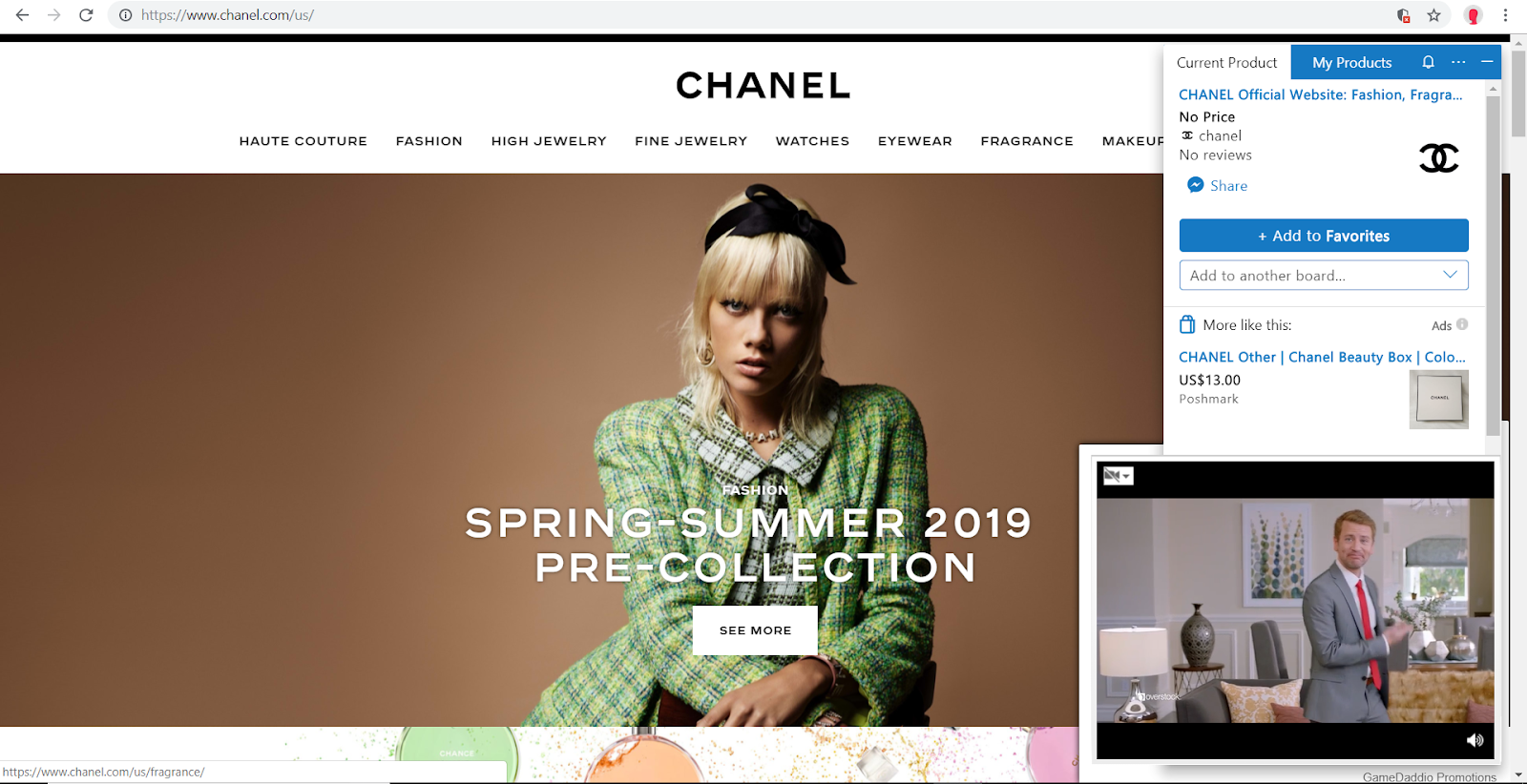 chanel video browser injected ads