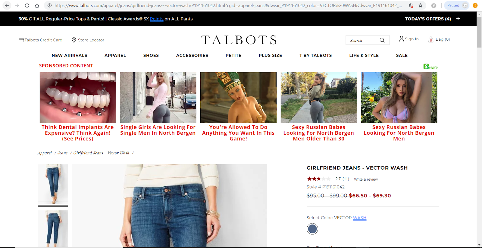 talbots browser injected ads adult content